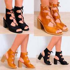 Unbranded Faux Suede Block Lace-up Shoes for Women