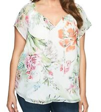 NEW NWT Karen Kane Plus Size Layered Floral Print Keyhole Blouse 3X Made in USA