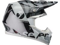 Casque Motocross BELL Moto-9 Flex Seven zone Gloss Noir / Blanc / Chrome
