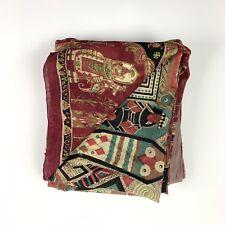 Vintage Sari Fabric Boho Print Earth Tones (piece is 5 yards in length)