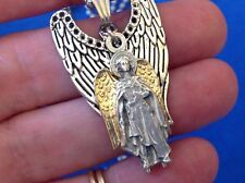 CUSTOM ARCHANGEL St URIEL Saint Medal NECKLACE Pendant Gold Plate Angel Wings