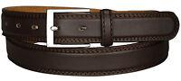 New Mens Leather Belts Black Brown Thin Belt Waist 29 - 60 Metal Buckle Bonded