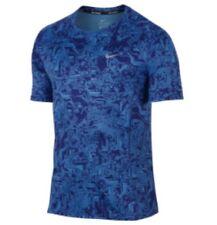 Nike Miler Dri Fit UV Running Shirt  800313-455 Royal Blue Print Mens SZ Medium