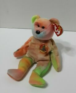 """Ty Beanie Babies Collection Bear Named """"Peace"""" - New"""