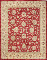 8X10 Hand-Knotted Farhan Carpet Traditional Red Fine Wool Area Rug D44096