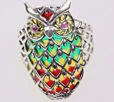 Owl Bird Ring Silver Vintage style enamel colours set red garnet eyes size 9