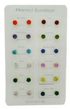 DOZEN ASSORTED COLOR 12 Pcs PIERCED EARRINGS BIRTHSTONES SET