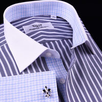 Gray Oxford Stripe White French Cuff Dress Shirt Blue Business Houndstooth Check
