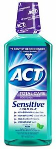 ACT Total Care Sensitive Anticavity Fluoride Rinse, Mint, 18 oz (3 Pack)
