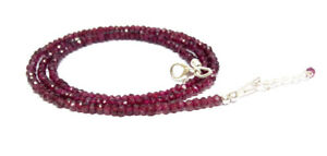 3-4MM 925 Sterling Silver Natural Indian Garnet Faceted Beads Necklace Jewelry