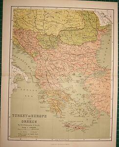 1878 Mappa Antica ~ Turchia IN Europa E Grecia Creta Bulgaria Roumania