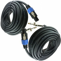 """2x  50 FT speakon to 1/4"""" speaker cables DJ PA 50FT PAIR OF CABLES 12 Gauge 12GA"""