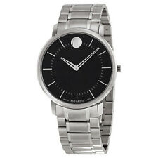 New Movado TC Black Sun-Ray Dial Mens Dress Stainless Steel Watch 0606687