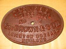 Vintage Metal Name Plate: Openeesi Horse Hoe No.7 Geo. Brown & Son - As Photo