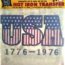 Vtg Rat's Hole T Shirt Iron On Transfer USA American Flag 1776-1976