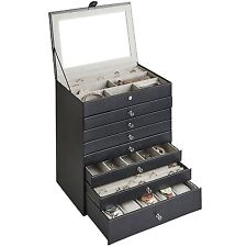 Beautify Large Black Faux Leather Jewelry Box Organizer with Drawers