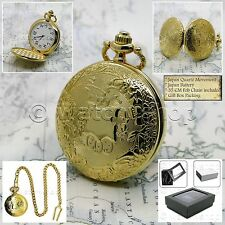 GOLD Antique Mens Shield Pattern Quartz Pocket Watch Gift Fob Chain Box P188