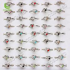 Jewelry Wholesale Lots 50pcs Heart Rhinestone Silver Plated Rings FREE