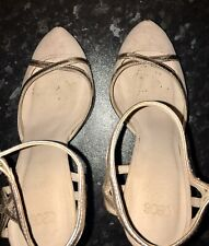Women's Asos High Heels Stiletto Pumps Shoes Size 5 Beige Gold Nude Strap