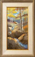 ROCKY MOUNTAIN GOLD, Original Autumn Aspen Landscape by Morales, 24X12, Framed