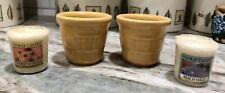 New Longaberger Set of Butternut Yellow Pottery Votives &2 Yankee Candle Votives