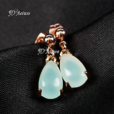 18K ROSE GOLD GF TEAR DROP JADE STUD EARRINGS