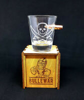 New Real Embedded Bullet Shot Glass with laser-engraved Jolly Roger.
