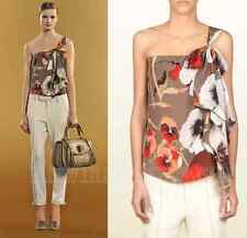 $995 GUCCI TOP BLOUSE OSHIBANA PRINT SILK GEORGETTE ONE SHOULDER BOW DETAIL 42 6
