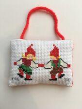 Mini Pillow ornament, cross stitch, embroidery Christmas Santa's helpers VINTAGE