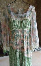 Vtg 70s Prairie Cotton Floral Bohemian Empire Dress Flared Lace Sleeves Ua 35