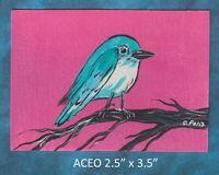 Original ACEO - Bird - miniature acrylic painting, not framed