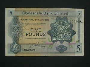 ***Decent** 1965  £5 Clydesdale Bank Ltd  'AVF'   Banknote****