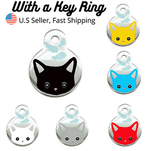 Buy 4 Get 1 Free √ Cat Head Fish Cat Tags Pet Tag Cat Charm Engraved Personalize