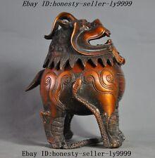 Old Chinese fengshui bronze gilt foo dog lion beast statue Incense Burner Censer