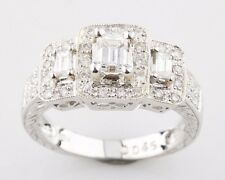 18K White Gold 3-Stone Emerald Cut 0.95 carat Diamond Engagement Ring 6.75