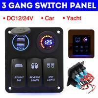 3 Gang Wippschalter Voltmeter LED Schaltpanel Leistungsschalter 12V Auto Boot
