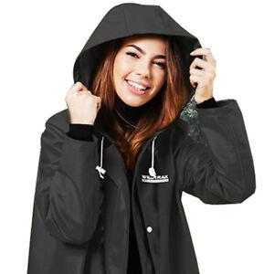 Adult Raincoat Jacket Women Rain Wear Hooded Waterproof Poncho Medium Black