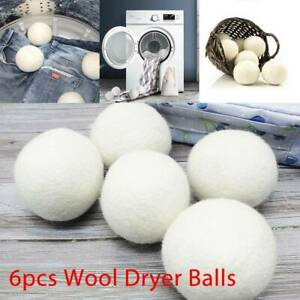 6PCS 6CM Home Wool Tumble Dryer Balls Natural Reusable Laundry Clean Pactical