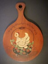 "Vintage Wood Folk Art HAND PAINTED TRIVET ""An Egg A Day The Hen Must Lay..."""