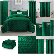 Plush Velvet Quilted Bedspread Throw + 2 Pillow Shams & Matching Eyelet Curtains