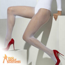 White Fishnet Tights Womens 20s Halloween Book Day Xmas Fancy Dress Accessory