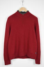 Woolrich Ruby Donna XL Rosso 100% Lana Mezza Zip Maglione Pullover 37259 _ GS