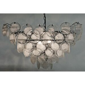 Murano Vistosi Style 84 Art Glass Discs Chandelier NEW SCALA Light Fixture Noir