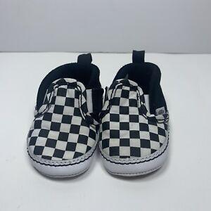 VANS Checkerboard Slip-On Soft Bottom Crib Shoes - Black & White - Size 2