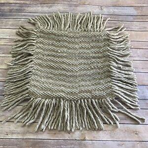 "Magnolia Home Joanna Gaines Pillow Cover 18"" Beige Tan Fringe Wool Jute Cotton"