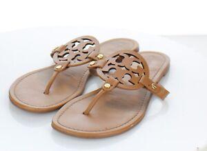 F27 $198 Women's Sz 11 M Tory Burch Miller Leather Medallion Thong Sandals