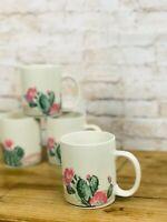 Vintage Tienshan Stoneware Cactus Set 4 Coffee Cup Mug BOHO Southwest Pink Green