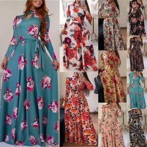 Women's Boho Floral Long Sleeve Maxi Dresses Ladies Summer Casual Fashion Dress
