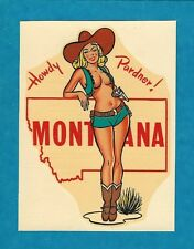 """VINTAGE ORIGINAL 1948 """"MISS MONTANA"""" STATE SEXY COWGIRL PINUP WATER DECAL ART"""