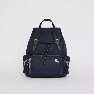 NWT Burberry $1390 Rucksack Nylon & Leather Military Backpack, Ink Blue